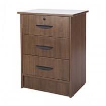 "Novum MON-3DM Monroe Series Bedside Cabinet, 3 Drawers, 22""W X 17""D X 29""H, Mahogany"