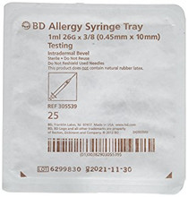 "BD 305539 PrecisionGlide 1mL Allergy Syringe tray with 26G x 3/8"" permanently attached needle, regular bevel and regular wall 25/sp, Each"