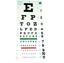 AMG 116-830 SNELLEN EYE CHART, PLASTIC, 2-SIDED, 20 FT, TEST DISTANCE EA/1