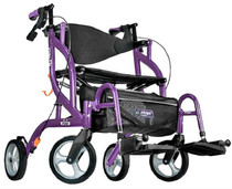 Airgo 700-935PR Fusion 2 in 1 Side-Folding Rollator & Transport Chair, 20 Inch, Purple