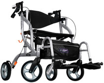 "Airgo 700-935SR Fusion 2 in 1 Side-Folding Rollator & Transport Chair, 20"", Silver"