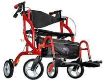 Airgo 700-938 Fusion 2 in 1 Side-Folding Rollator & Transport Chair, 18 Inch, Cranberry