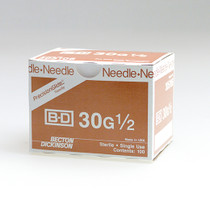 """BD 305106 PRECISIONGLIDE Needle STERILE CONVENTIONAL 30G x 13mm (0.5"""") 100/bx"""