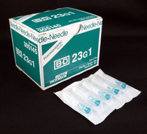 "BD 305145 PRECISIONGLIDE Needle STERILE CONVENTIONAL Turquoise Regular Wall 23G x 25mm (1"") 100/bx"