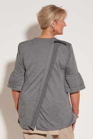 Ovidis 2-1002-91-3 Knit Top for Women - Grey, Cristy, Adaptive Clothing, L