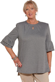 Ovidis 2-1002-91-4 Knit Top for Women - Grey , Cristy , Adaptive Clothing , L