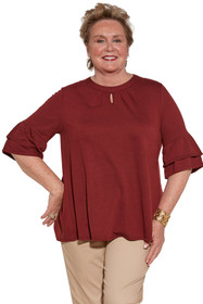 Ovidis 2-1002-26-2 Knit Top for Women - Burgundy , Cristy , Adaptive Clothing , 2XL