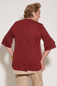 Ovidis 2-1002-26-3 Knit Top for Women - Burgundy, Cristy, Adaptive Clothing, L