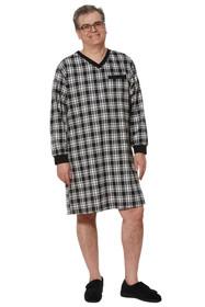 Ovidis 1-9001-90-5 Nightshirt for Men - Black , Stewart , Adaptive Clothing , XL