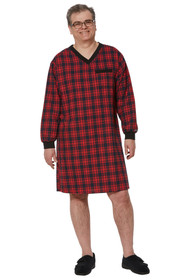 Ovidis 1-9001-20-4 Nightshirt for Men - Red , Stewart , Adaptive Clothing , L