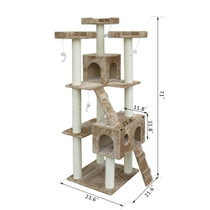 PawHut 5663-0242 71-Inch Cat Tree Furniture Pet Tower House with Scratch Post and Condo, Beige