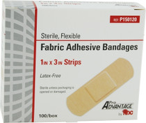 P150120 DRESSING ADHESIVE STRIP FABRIC 1 x 3in STER PRO ADVANTAGE BX/100
