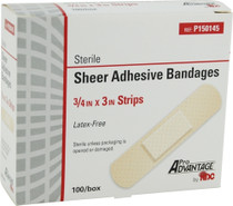 P150145 DRESSING ADHESIVE STRIP PLASTIC && 3/4x3in SHEER PRO AD CA/12x100