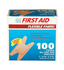 Flexible 1602033 DRESSING ADHESIVE FABRIC KNUCKLE FLEXIBLE 3in FIRST AID BX/100