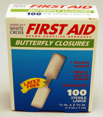"""Derma Sciences 1990033 STERILE CLOSURE SKIN ADHESIVE BUTTERFLY 0.5"""" x 2.75"""", Large, BX/100"""
