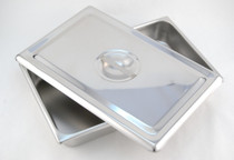 TRAY S/S w/COVER 12.25x8x2in FLAT COVER 197-90-2300