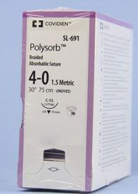Polysobr-SL691 SUTURE POLYSORB CTD BRD UNDYE 4-0 30in C-13 BX/36