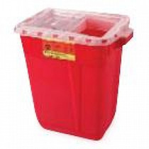 BD-305666 COLLECTOR SHARPS 19gal RED/CLEAR SLIDE TOP w/GASKET CA/5
