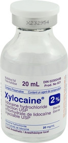 ANESTHETIC LOCAL INJ XYLOCAINE 2% PLAIN 20ml VIAL 114-021