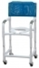 CHAIR SHOWER PVC MOBILE 18in INT W ADJ HT 250lb CAP ROYAL BLUE MESH 139-89150-ROYALBLUE