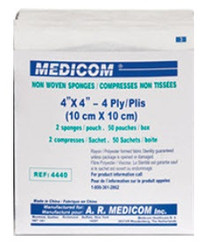 "Medicom 4440 Non-Woven Gauze Sponges Synthetic Sterile 4""x4"", 4-Ply, 2/pkg, 50pkg/tr"