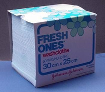 Johnson & Johnson H5849 (CS40) BX/50 FRESH ONES WASHCLOTHS SMALL (25CM X 30CM) (Johnson & Johnson H5849)
