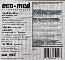 ECO-MED 70HSB Hand Sanitizer, 70% Alcohol, Vitamin E, Aloe Vera, 250ml bottle,  12/BX, Box
