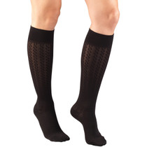 TRUFORM 1975BL LADIES' HOSIERY KNEE-SOCKS, 15-20mmHg 15-20mmHg Cable pattern, black S-M-L-XL (1975BL)
