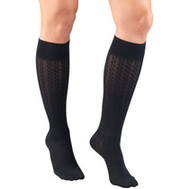 TRUFORM 1975NV LADIES' HOSIERY KNEE-SOCKS, 15-20mmHg 15-20mmHg Cable pattern, navy S-M-L-XL (1975NV)