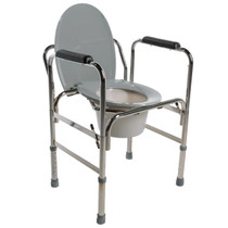 "PCP 5028 Drop-arm chrome steel commode, adjustable 19"" - 23"""