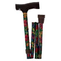 "PCP 514137 TRAVEL FOLDING FRITZ HANDLE - 3/4"" (1.91cm) Cane Tip Summer Garden - Mahogany Handle (514137)"