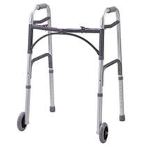 "Drive Medical 10210-1 Deluxe Two Button Folding Walker with 5"" Wheels"