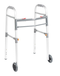 "Drive Medical 10253-1 Two Button Folding Universal Walker with 5"" Wheels (10253-1)"