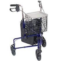Drive 10289BL 3-Wheel Walker Rollator with Basket Tray and Pouch, Flame Blue