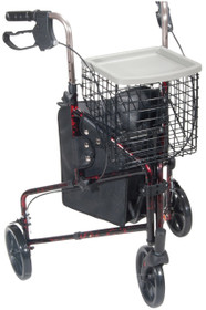 Drive 10289RD 3-Wheel Walker Rollator with Basket Tray and Pouch, Flame Red (10289RD)