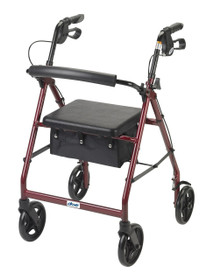 Drive Medical R728BL Aluminum Rollator with Fold Up and Removable Back Support and Padded Seat, Blue (Drive Medical R728BL)