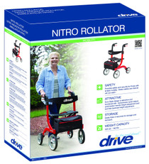 Drive Medical RTL10266 Nitro Euro Style Walker Rollator, Red