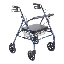 Drive 10215BL-1 Heavy Duty Bariatric Walker Rollator with Large Padded Seat, Blue (10215BL-1)