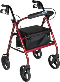 Aluminum Rollator with Removable Wheels, Red (RTL728RD)