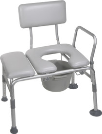 Padded Seat Transfer Bench with Commode Opening (12005KDC-1)