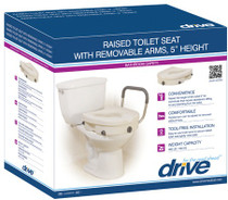 Drive 12008KDR Raised Toilet Seat with Removable Padded Arms