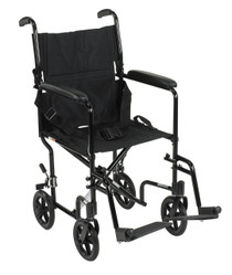 "Drive ATC17-BK Aluminum Lightweight Transport Wheelchair, 17"" Seat, Black"
