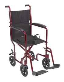 "Drive ATC17-RD Lightweight Transport Wheelchair, 17"" Seat, Red"