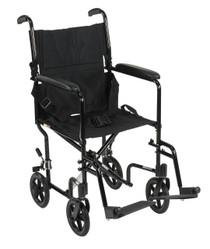 "Drive ATC19-BK Lightweight Transport Wheelchair, 19"" Seat, Black (ATC19-BK)"