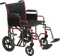 "Drive BTR20-R Bariatric Heavy Duty Transport Wheelchair with Swing Away Footrest, 20"" Seat, Red (BTR20-R)"