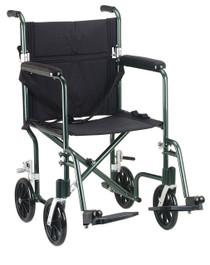 "Drive Medical FW17GR Flyweight Lightweight Folding Transport Wheelchair, 17"", Green Frame, Black Upholstery"