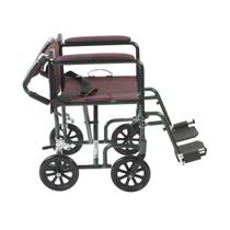 "Drive Medical FW19BG Fly-weight Lightweight Folding Transport Wheelchair, 19"", Green Frame, Burgundy Upholstery"