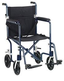 "Drive FW19BL Flyweight Lightweight Folding Transport Wheelchair, 19"", Blue Frame, Black Upholstery (Drive FW19BL)"
