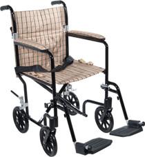 """Drive FW19GR Flyweight Lightweight Folding Transport Wheelchair, 19"""", Green Frame, Black Upholstery (FW19GR)"""