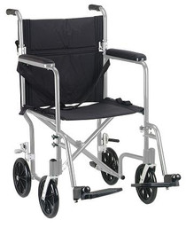 "Drive Medical FW19SL Flyweight Lightweight Folding Transport Wheelchair, 19"", Silver Frame, Black Upholstery (FW19SL)"